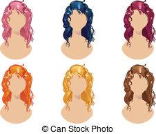 Hair clipart wavy  Set 057 Clipart Hair