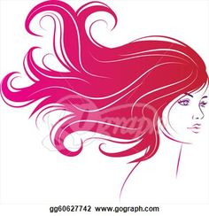 Hair clipart wild hair Beautiful floral ornamental Long art