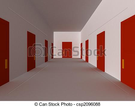Corridor clipart house hallway Red Illustration of 3D Red