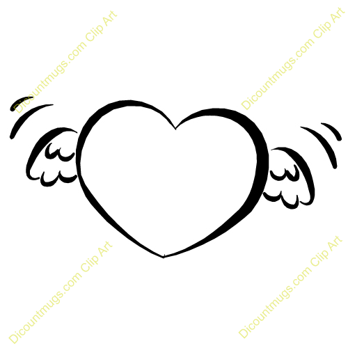 Halo clipart baby angel wing Heart Angel Wings Black with