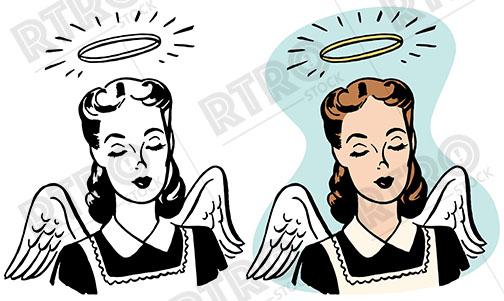 Halo clipart retro An wings An cartoon angelic
