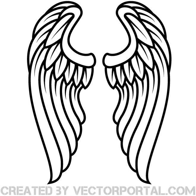 Halo clipart simple wing Vector of TattooTattoo illustration pair