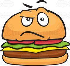 Hamburger clipart angry Cartoon Hamburger A Cheeseburger Grilling