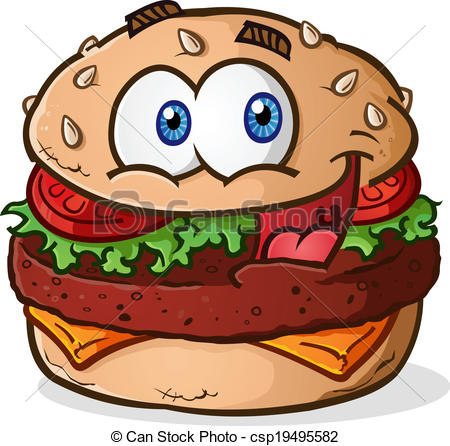 Hamburger clipart face Cheeseburger Cartoon Cartoon  Vector