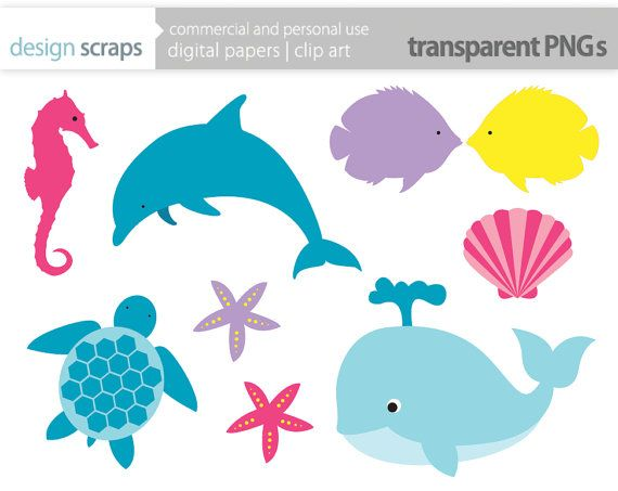 Bottlenose Dolphin clipart blue starfish Dolphin 257 Vectors sea seahorse