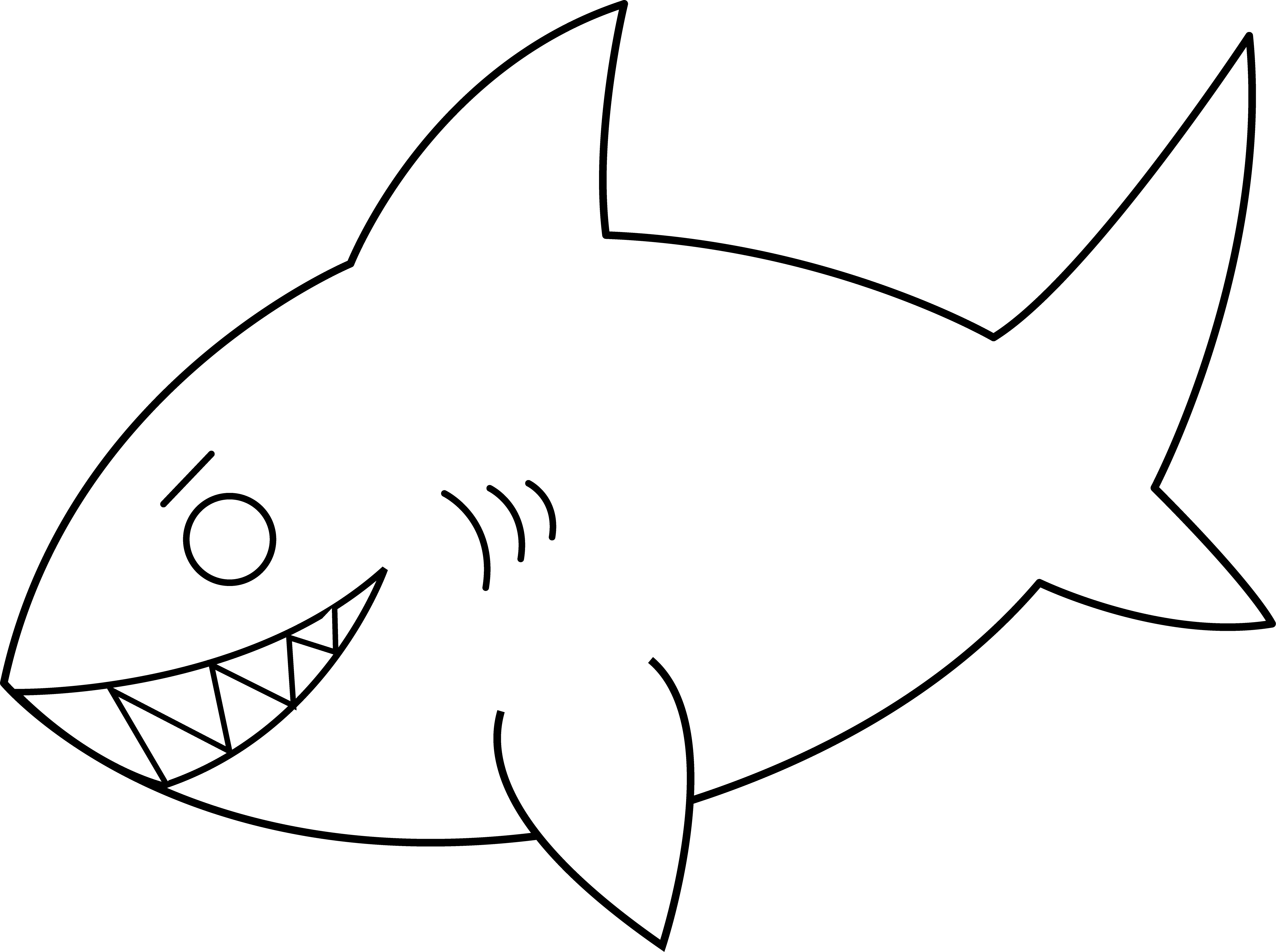 Hammerhead clipart shark outline Line Colorable Art Line Shark