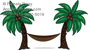 Hammock clipart Palm Between Trees Art Palm