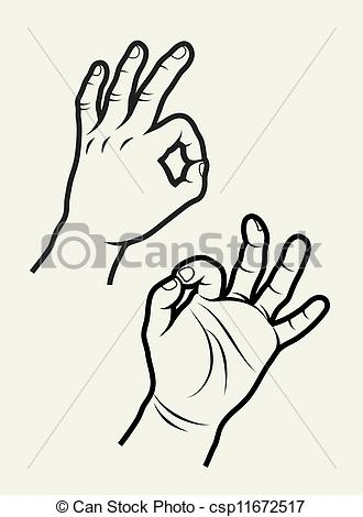 Hand Gesture clipart drawn 3 of signs vector signs