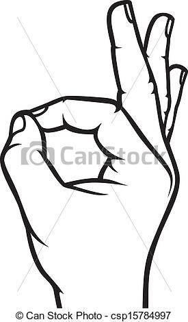 Hand Gesture clipart drawn (OK Human hand sign okay