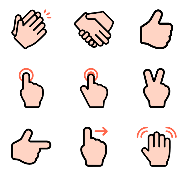 Hand Gesture clipart finger pointing Gestures 733 icons 2 Linear