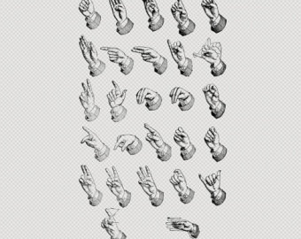 Hand Gesture clipart hand sign Instant  Hand ink Download