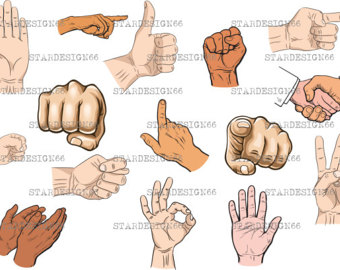 Hand Gesture clipart hand sign Digital clipart EPS hand svg