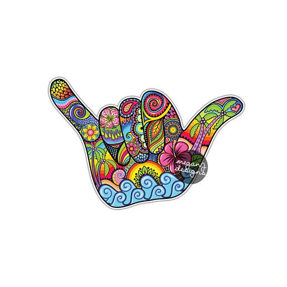Hand Gesture clipart hang loose Art Hang Colorful Hawaiian Hang