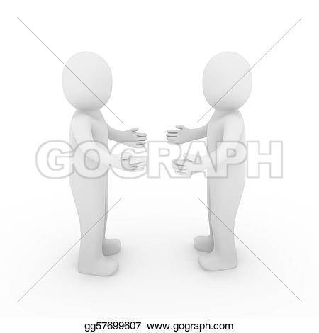 Hand Gesture clipart hello 3d human Stock 3d Illustration