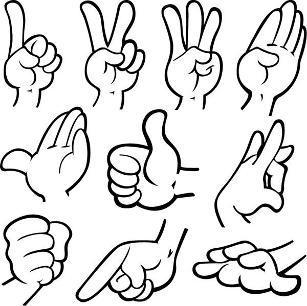 Hand Gesture clipart line art #1
