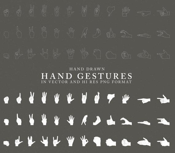 Hand Gesture clipart line art #3
