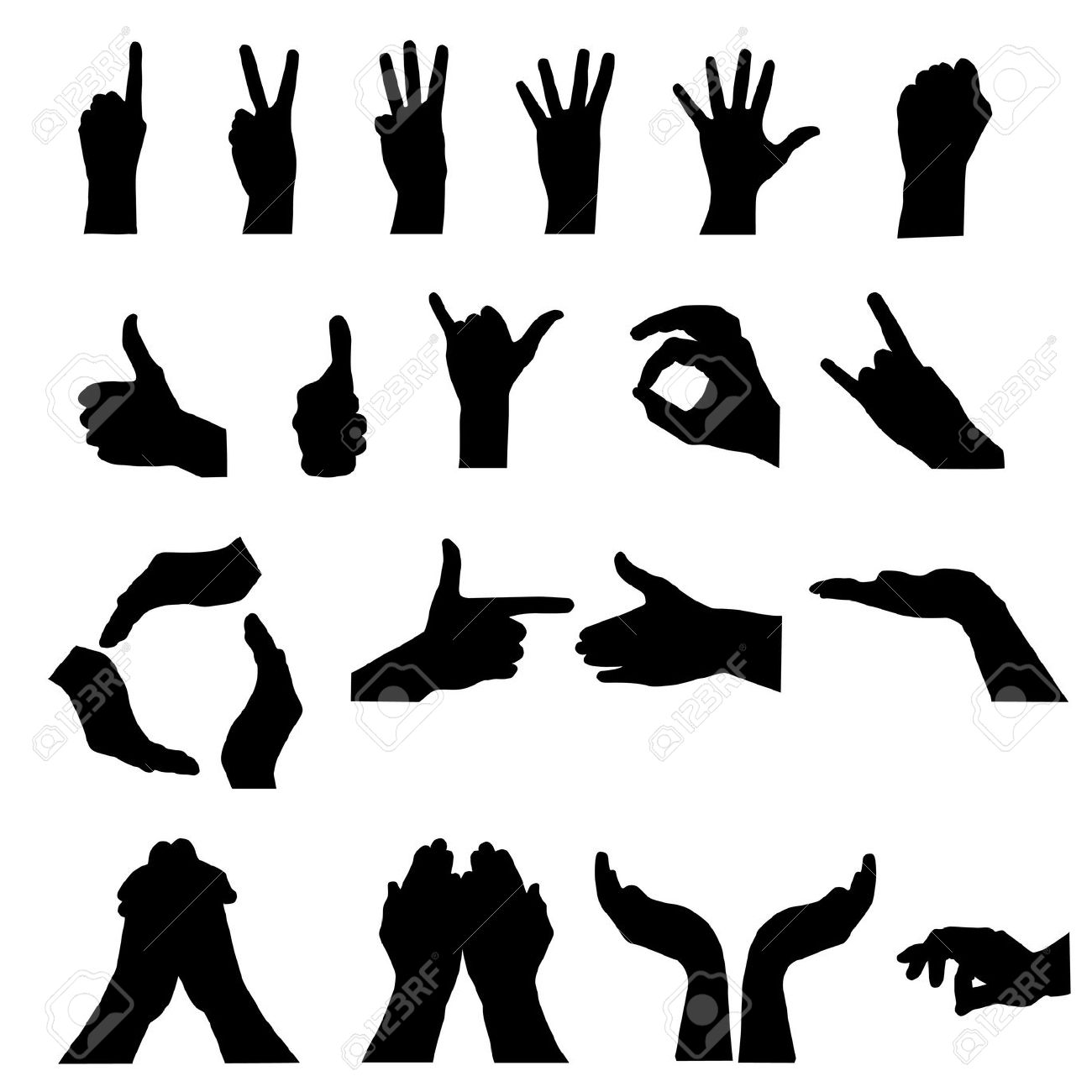 Hand Gesture clipart logo Illustration  white Stock 10946578