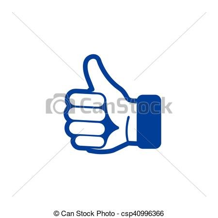 Hand Gesture clipart positive Abstract Isolated blue Clip Vector