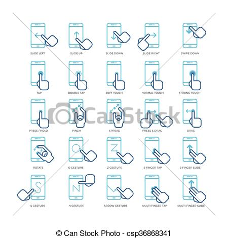 Hand Gesture clipart smartphone Touch outline screen of Vector