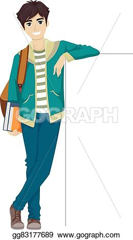 Hand Gesture clipart teenager boy Blank EPS  leaning board