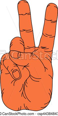 Hand Gesture clipart two  in Vector hand two