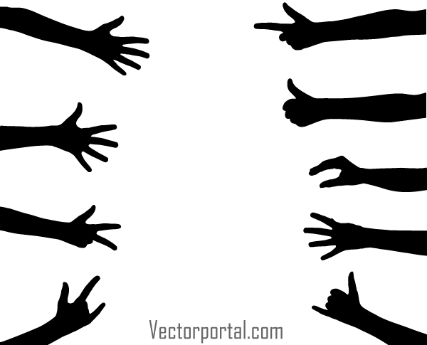 Hand Gesture clipart woman hand Vector Art Silhouettes Hand Vector