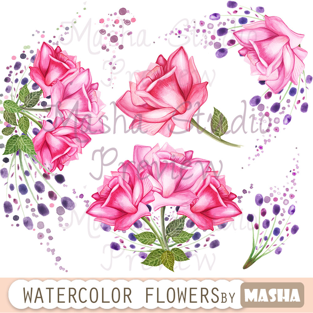 Pink Rose clipart flower bouquet Watercolor flowers ROSES item? this