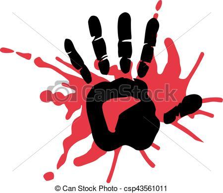 Blood clipart handprint Handprint blood csp43561011 Search Vector