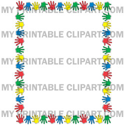 Handprint clipart boarder Border Hand Over Colorful Prints