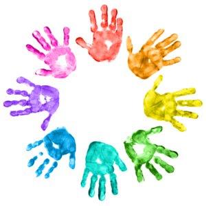 Handprint clipart circle Gallery clipart Preschool kid handprint