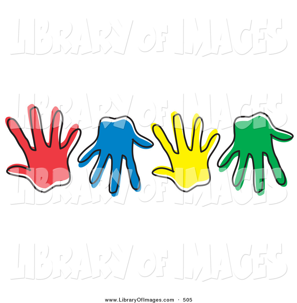 Handprint clipart colored A on Prints Hand of