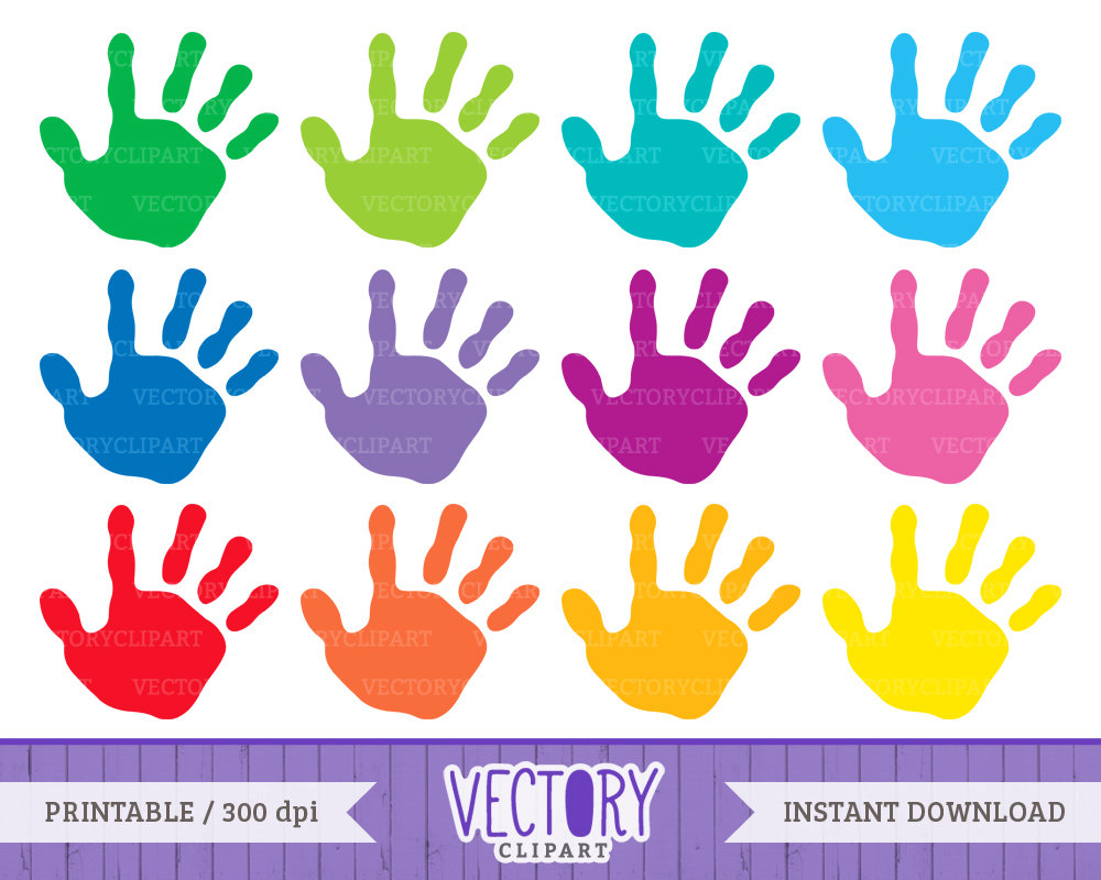 Handprint clipart colored  Kids 12 Hands Handprint