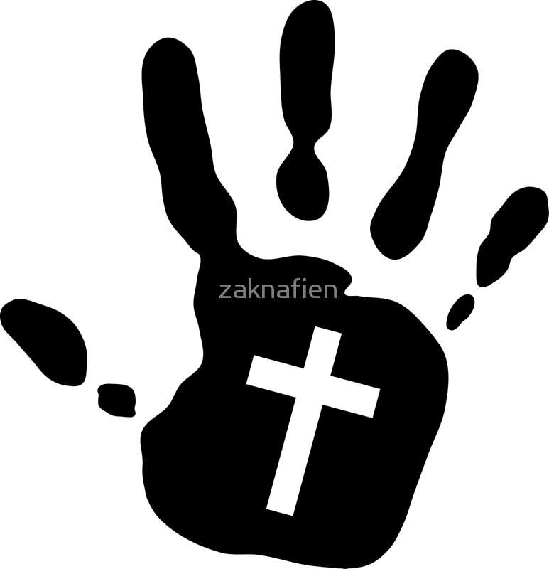 Handprint clipart cross Cross Handprint Redbubble zaknafien Handprint