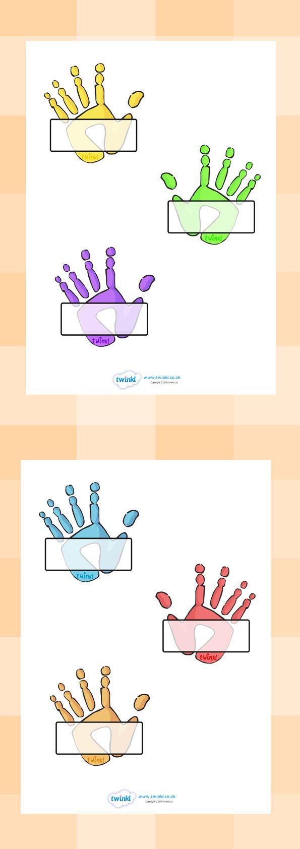 Handprint clipart eyfs Labels (Handprints) twinkl Self 25+