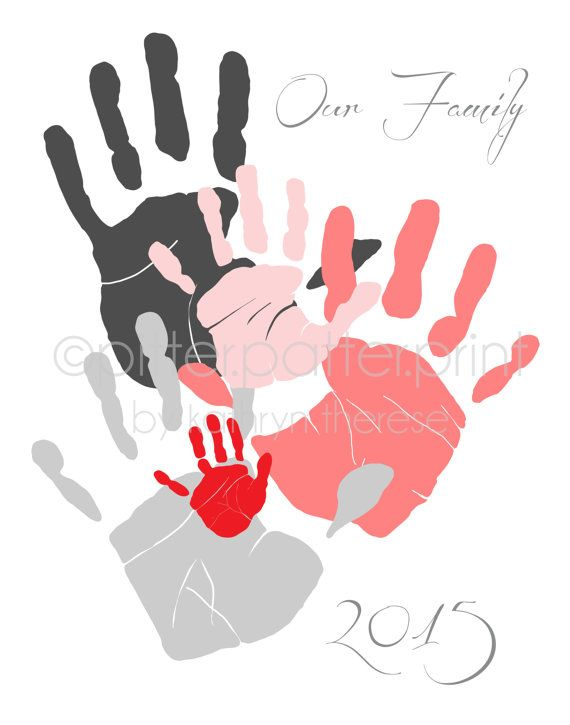Handprint clipart five person Gift Personalized Dad Day Art