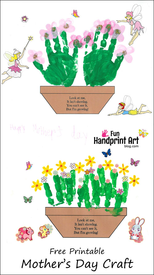 Handprint clipart flower Craft Free Pot Printable
