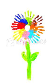 Handprint clipart flower Hand handprints Pinterest Rainbow Search