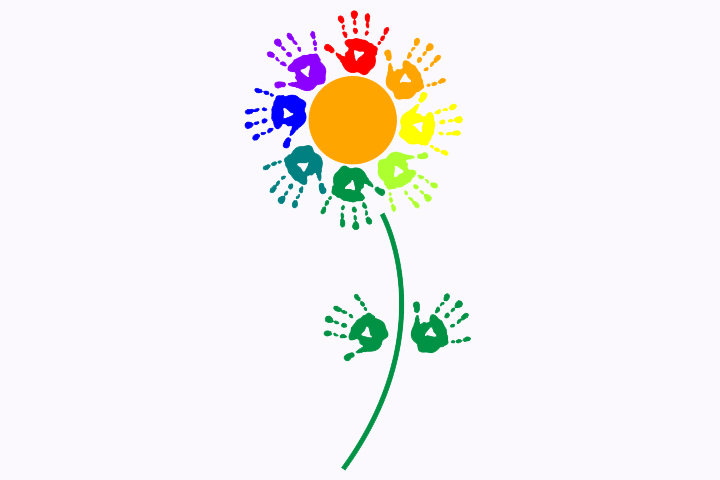 Handprint clipart flower Handprint Ages Of Handprint Crafts