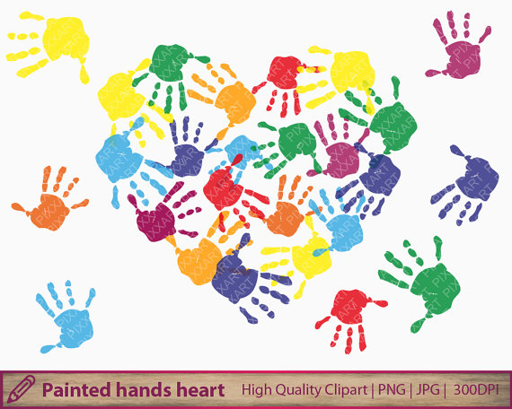 Handprint clipart hand painting Scrapbooking heart father's print paint