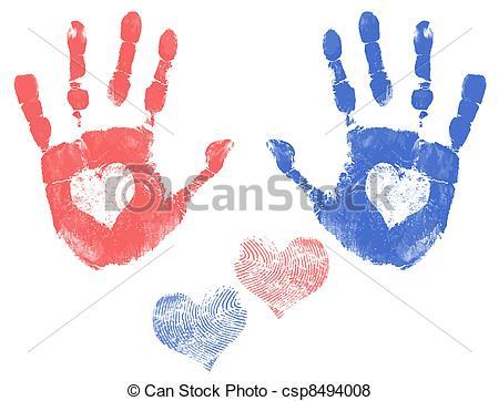 Handprint clipart handprint heart Csp8494008 Love handprints with a