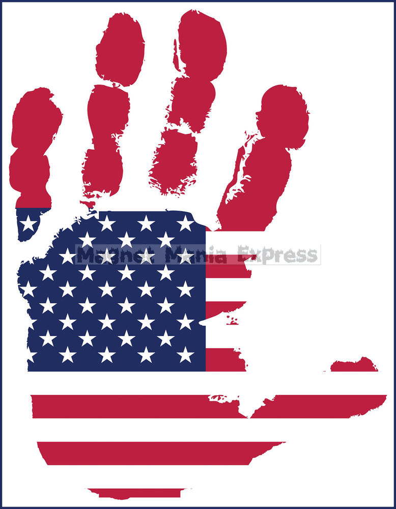 Handprint clipart hands united Of USA Hand MAGNET Image