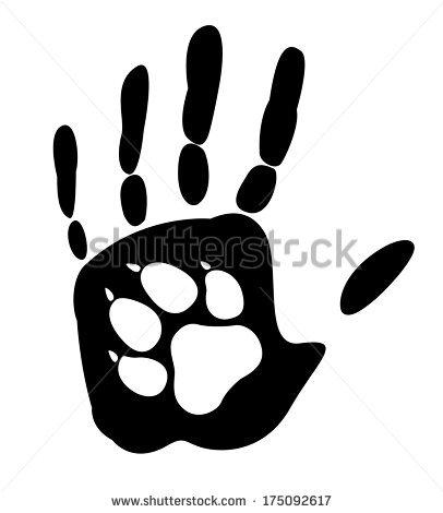 Handprint clipart human Handprint paw paw Vector Dog