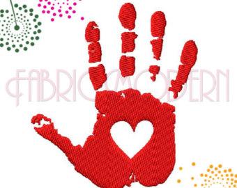 Handprint clipart left hand 2 3