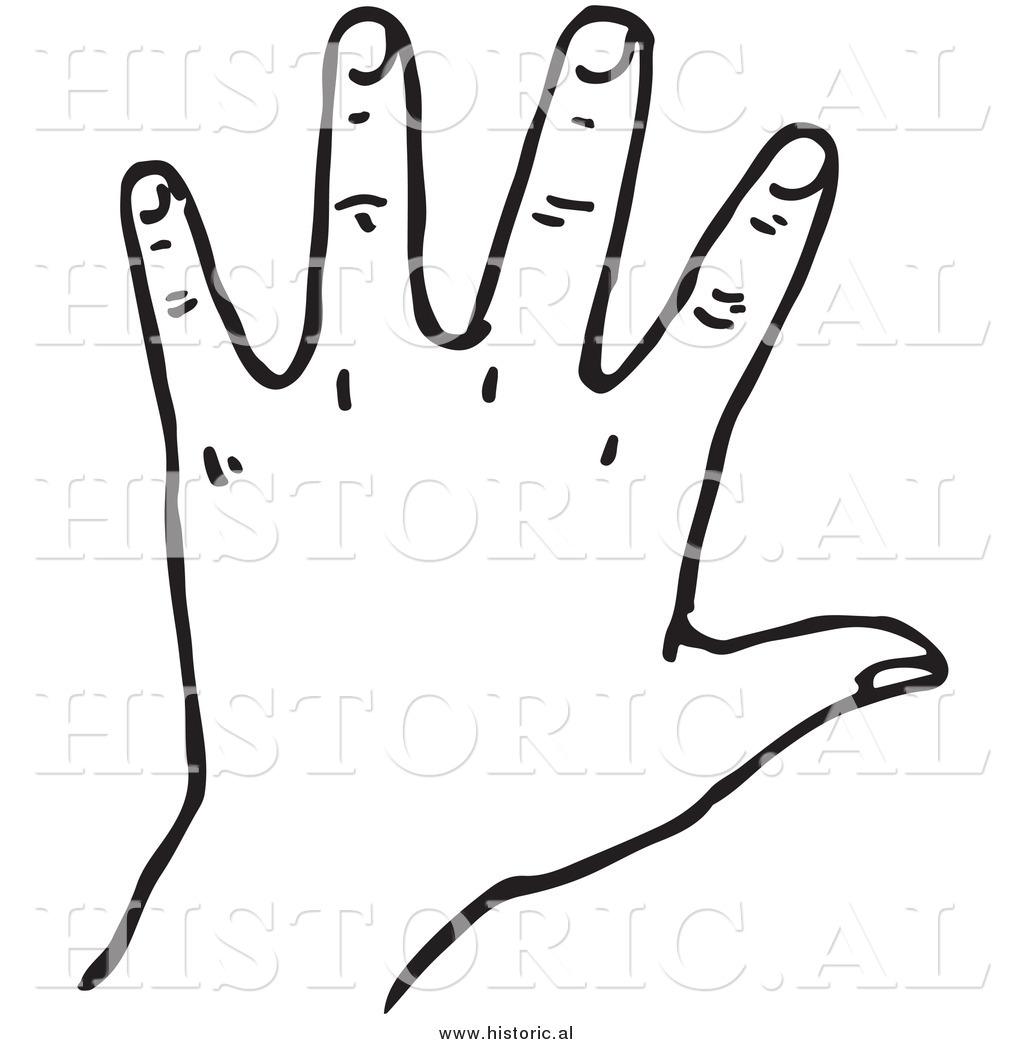 Handprint clipart left hand Black White Hand Clipart Art