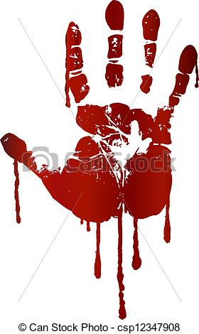 Handprint clipart line Art Bloody Clipart of csp12347908