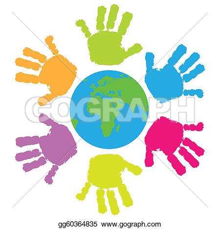 Handprint clipart massage hand Eart Children Free · print