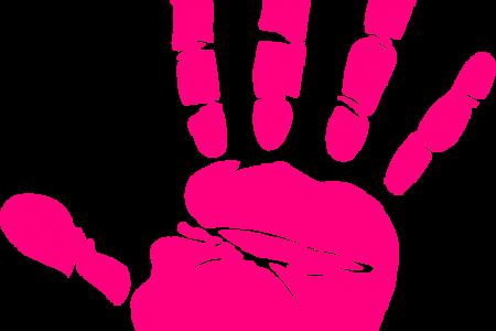 Handprint clipart pink Smiling  print Handprint palm