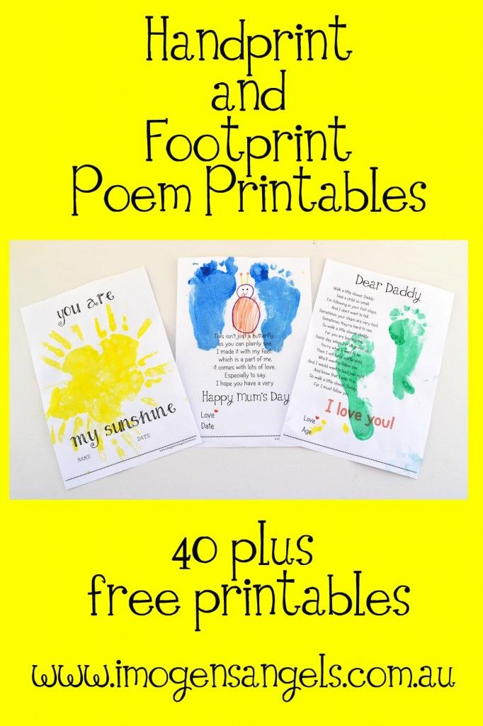 Handprint clipart playgroup Kid's Playgroup Poem and Printable