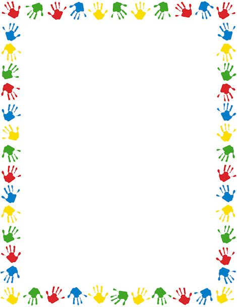 Handprint clipart preschool Printable handprints border different A