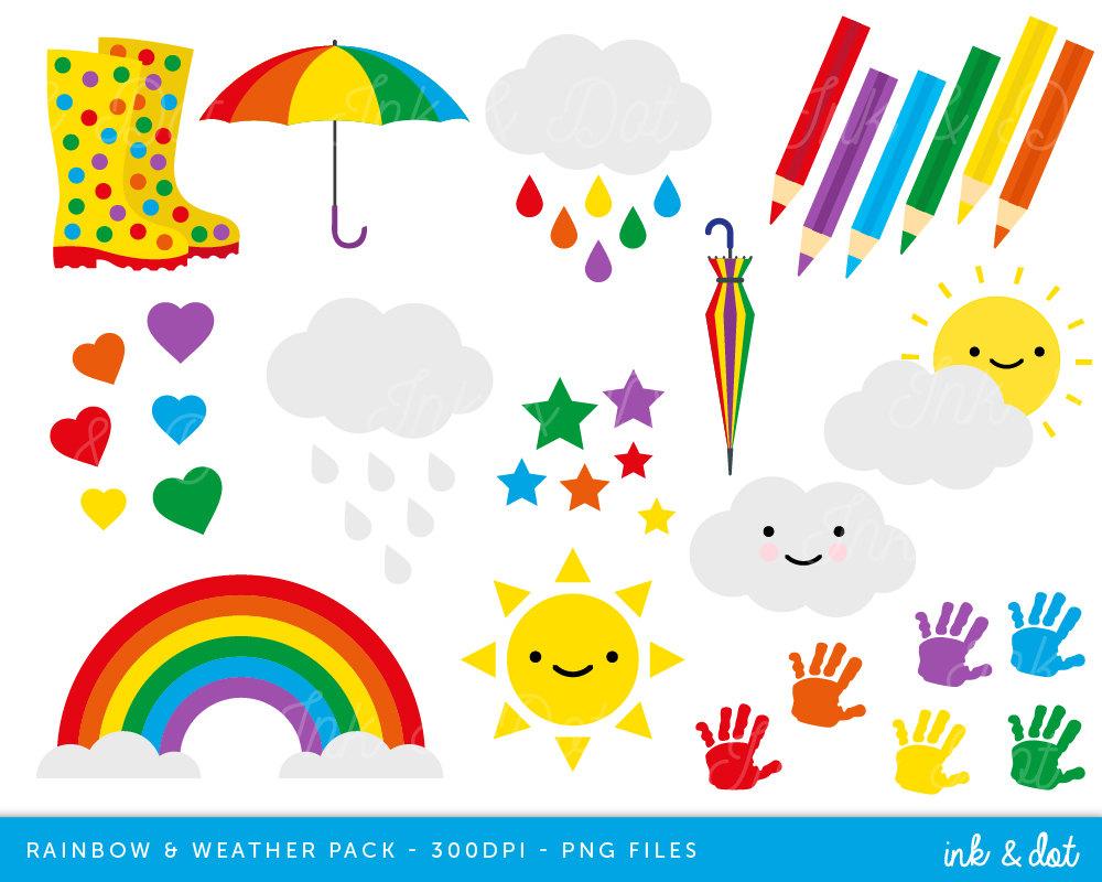 Handprint clipart rainbow Rainbow Clipart and Clouds Clip